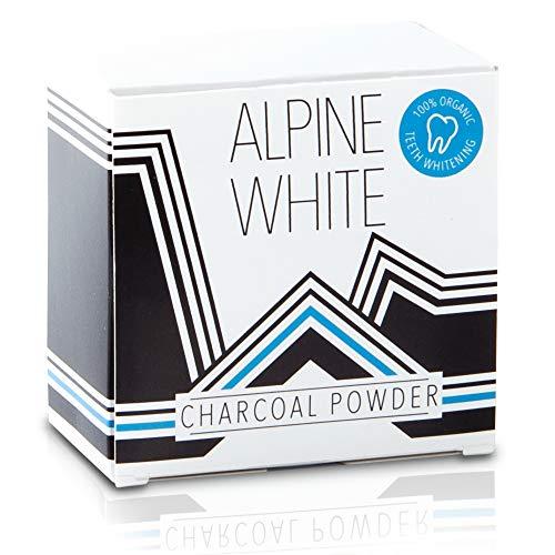 ALPINE WHITE Aktivkohle-Pulver für sichtbar weißere Zähne – Natürlich Zähne aufhellen mit Kokosnuss-Aktivkohle I 30g