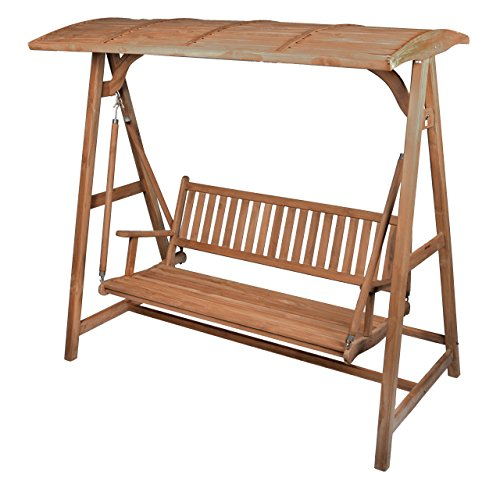 Nexos Trading Divero Hollywoodschaukel 3-Sitzer Gartenschaukel Schaukel-Bank aus massivem Teak-Holz 200 cm breit mit Armlehne und Sonnenschutz-Dach