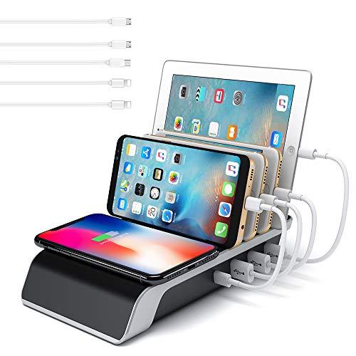 lakukoudouマルチ急速充電器45W Qiワイヤレス充電器 スマホ急速充電器 iphone マルチ急速充電器 充電スタンド 複数のデバイスの充電ステーションIC技術、iphone/ipad/Tape-c/Android全て対応(ブラック) [並行輸入品]
