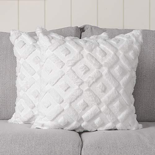 Madizz - Juego de 2 fundas de almohada decorativas de terciopelo suave de lana corta, de lujo, estilo de cojín, para sofá o recámara, Country rústico, Blanco puro, 16'x16', 1