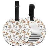 Boho Style Baby Animals - Juego de etiquetas para maleta de piel personalizada, accesorios de viaje, etiquetas redondas para equipaje Negro Negro 4 PCS