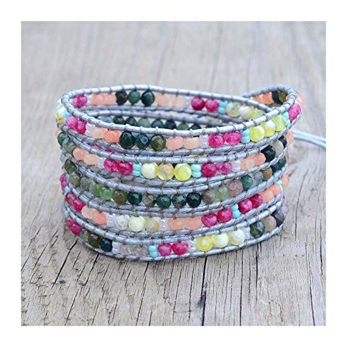 ZAOPP Boho Colorido Pulsera de Cuero Vintage Piedra Natural 5 Hilos envuelven Pulsera para Mujeres Regalos Accesorios (Metal Color : Pink)