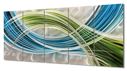 """Yihui Arts Abstract Color Warp Metal Wall Art, Large Scale Decor Abstract Blue-Green Swirls, 3D Wall Art for Modern and Contemporary Decor, 6-Panels Measure 24""""x 65"""", Great for Indoors and Outdoors"""