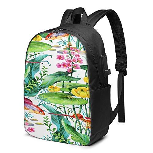 Laptop Rucksack Business Rucksack für 17 Zoll Laptop, Aquarium Wasserpflanzen Blume Schulrucksack Mit USB Port für Arbeit Wandern Reisen Camping, für Herren Damen