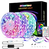 50ft LED Strip Lights,BITIANTEAM LED Lights Bluetooth Music Sync SMD 5050 Color Changing RGB Rope Lights APP Control 23-Key Remote Sensitive Built-in Mic LED Lights for Bedroom Home Party(3x16.6FT)