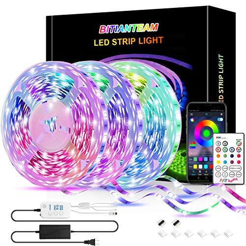 50ft LED Strip Lights,BITIANTEAM LED Lights Bluetooth Music Sync SMD 5050 Color Changing RGB Rope Lights APP Control 23-Key Remote Sensitive Built-in Mic LED Lights for Bedroom Home Party(3x16.6FT)