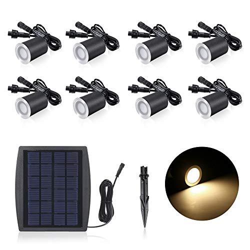 Lixada 3,2 V 0,2 W Mini Faretti Incasso Ricarica Solare LED Lampada da Giardino Sensing IP65 Impermeabile per Giardino Percorsi Metropolitana Pavimento Bagno 8PCS   6PCS