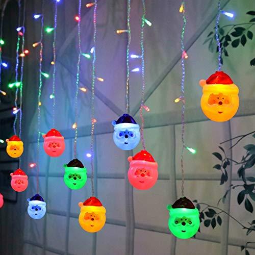 Harpily 3.5M Natale 96 Pezzi LED Babbo Natale LED Stringa con Telecomando Decorazioni Natalizie Tenda da Finestra per la Decorazione di Feste Casa Natalizie Halloween (Multicolor)