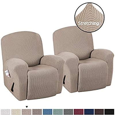 H.VERSAILTEX Stretch Recliner Slipcovers Durable Soft High Stretch Jacquard Sofa Furniture Cover Form Fit Stretch Stylish Recliner Cover/Protector (2 Pack Recliner, Sand)