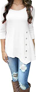 T Shirts for Womens, FORUU Long Sleeve Loose Button Trim Blouse Solid Tunic Tops