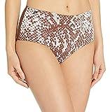 Maaji Women's Darling Reversible High Waist Signature Cut Bikini Bottom Swimsuit, Moon and Sea Brown Python, Small