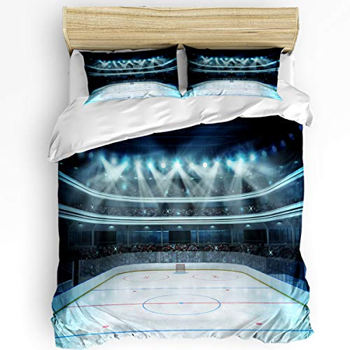 CHARMHOME Fashionable Bedding 3pcs Twin Size Set Hypoallergenic Washed Microfiber Hockey Photo of a Sports Arena Full of People Fans Audience Tournament Match Duvet Cover Set for All Seasons