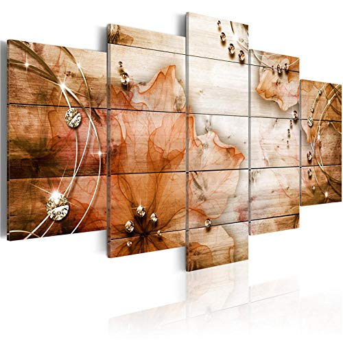 WWMJBH 5 stuks kleurrijk modern canvas schilderij paars bloemen schilderij muurkunst rode bloesem poster woonkamer huis decoratievlies canvas afbeelding 5 kunstdruk modern 200x100cm