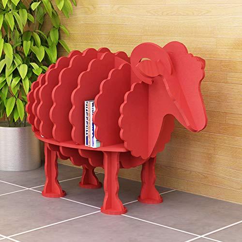 Xin Hai Yuan Estantería Creativa De Oveja, Estantería De Estilo Animal, Tablero De Plástico De Madera Decoración Estante Artesanal Decoración De Aterrizaje Tienda Muebles para Niños,Rojo