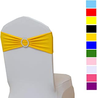 Fvstar 10pcs Chair Sahses Bows Decorative Elegant Wedding Chair Sashes Elastic Spandex Party Chair Cover Bows Ties Chair Ribbons with Buckle for Event Baby Shower Birthday Banquet,Yellow