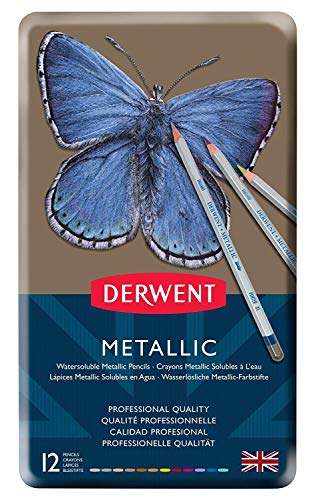 Derwent Watercolor Pencils, Metallic, Water Color, Drawing, Art, 12-Pack (0700456) 2 Sets