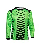 Asioka 156/17N Camiseta de Portero de Mangas Largas, Unisex niños, Verde (flúor) / Negro, 12-14
