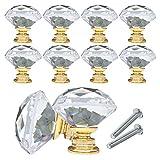 YCDC Pomos de cristal para cajones y armarios, con forma de diamante, 40 mm,...