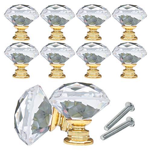 YCDC Pomos de cristal para cajones y armarios, con forma de diamante, 40 mm, para tocador, cocina, armario y armario (10 unidades, oro)