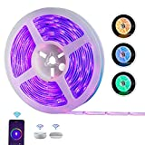 Smart WiFi LED Strip Lights, REAFOO Smart Music Sync Light 16.4Ft RGB Waterproof Strip Lights with Timer for Home Party TV Gaming, Remote Control by iOS and Android Compatible with Alexa Google Home