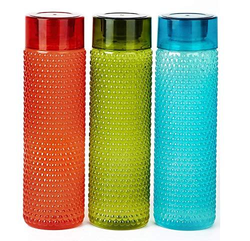 Homance® Plastic Water Bottle for Fridge   Unbreakable & Leak-Proof   Water Bottles for Kids - 1 Litre (Set of 3)