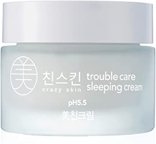 CRAZY SKIN Weakly Acidic pH Level 5.5 Skin Repair Trouble Care Sleeping Night Cream 50g - Natural Ingredients for Damaged & Sensitive Skin/Skin Calming & Moisturizing