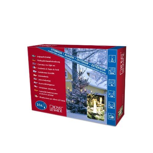 Konstsmide 1068-010 - Guirnalda LED para el árbol de navidad (velas de luz, 10 diodos de blanco cálido, 230 V, 1W, para interiores)
