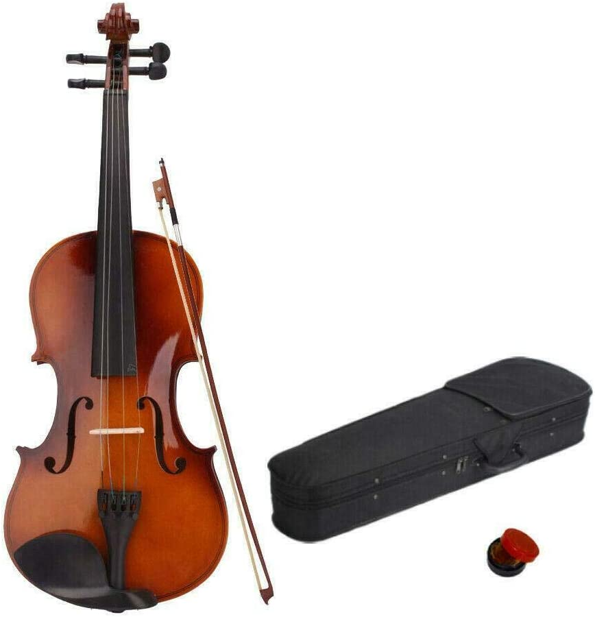 Full size acoustic violin set 4//4 natural basswood with case bow with suitcase violin for beginners rosin solid wood violin starter set