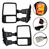 DEDC Towing Mirrors For 1999-2007 Ford Super Duty F250 F350 F450 Side Mirror Pair Power Heated With Signal Light (Upgrade to 08 Superduty Retrofit) 1999 2000 2001 2002 2003 2004 2005 2006 2007