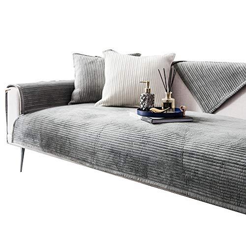 HXTSWGS Sofá de Felpa Toalla Funda de sofá Cojín Funda de sofá de Esquina para Sala de Estar Fundas Sofás con Chaise Longue-Grey_W90xL240cm
