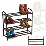 GEMITTO Shoe Rack Organizer for Entryway Closet, Adjustable Heavy Duty Metal Free Standing Shoe Racks Storage Shelf 4 Tiers, Large Enough for 20+ Pairs of Shoes (23.6'~41.7'x8.9'x24.2')(Brown)