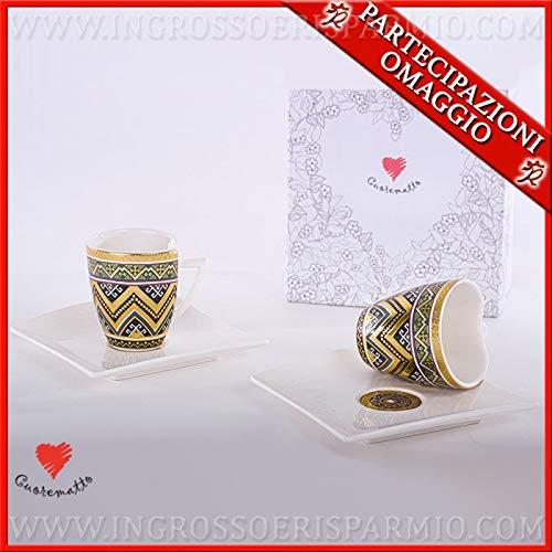 Ingrosso e Risparmio Cuorematto - Juego de 2 tazas de café con platillo de porcelana de colores decorados, bomboneras solidarias para bodas, cumpleaños, con caja de regalo incluida