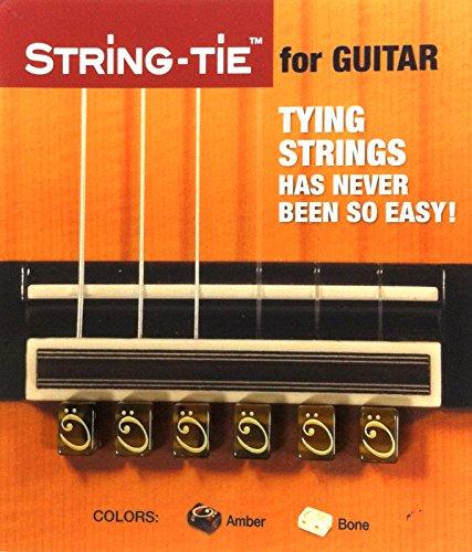 TSTGA TENOR String-Tie Tailpiece BridgeBeads Set for Classical or Flamenco Spanish Guitar, AMBER Color Bridge Beads.