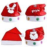INTVN 4PCS Cappelli di Babbo Natale, Costume Natalizio e Accessori Rossi Classici di Babbo Natale