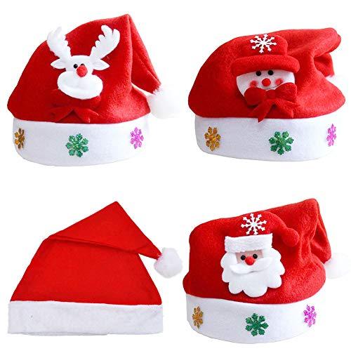 INTVN Weihnachtsmütze Weihnachtsmütze Plüsch Rand Weihnachtsfeier Rote Weihnachtsmütze, weich und bequem, geeignet für Erwachsene