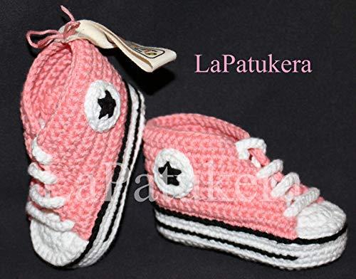 100% BIO-BAUMWOLLE. Ökologisch. Babyschuhe Crochet. Unisex. Converse-Stil. Rosa Korallen. Handmade in Spanien. Turnschuh gehäkelt gestrickt. Freies Verschiffen. Geschenk fürs Baby