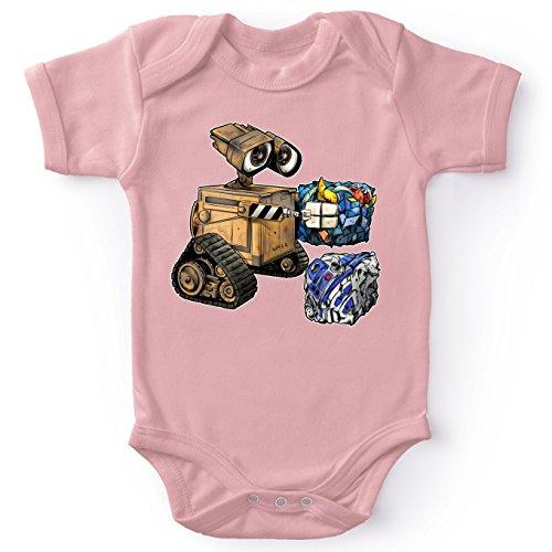 Body bébé Manches Courtes Filles Rose Parodie Star Wars - Wall-E - Wall-E, Goldorak et R2-D2 - La Grosse boulette. :(Body bébé de qualité supérieure de Taille 6 Mois - imprimé en France)