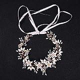 Plum Fower Rhinestone Bridal Headpiece Hair Vine Headband Wedding Bridesmaid Tiara Crown Hairband Crystal Pearl Floral Leaf Forehead Band with Lace Ribbon (rose gold)