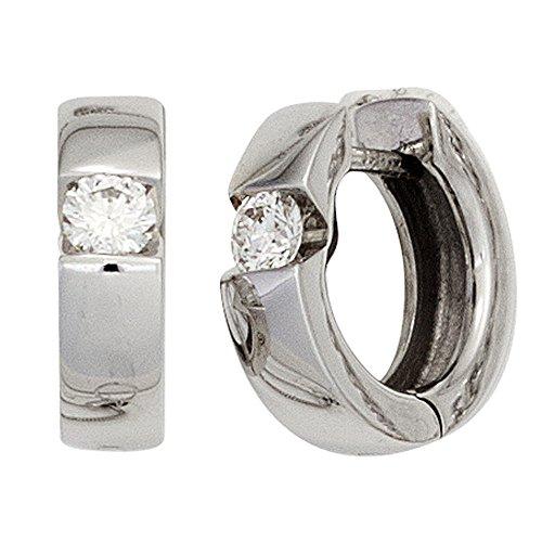 JOBO Creolen 585 Gold Weißgold 2 Diamanten Brillanten Ohrringe Klappmechanik