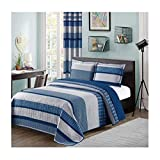 All American Collection Blue and Gray Modern Plaid 2-Piece Twin Bedspread and Pillow Sham Set | Matching Curtains Available