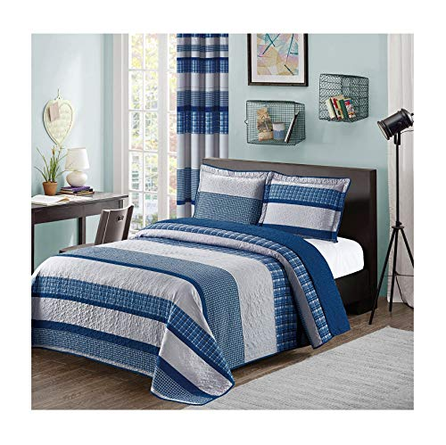 All American Collection Blue and Gray Modern Plaid 3-Piece Queen Bedspread and Pillow Sham Set | Matching Curtains Available!