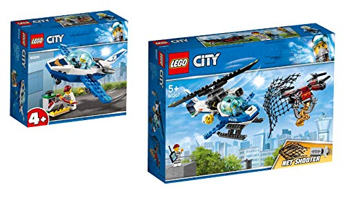 Steinchenwelt Lego City 60206 - Juego de 2 patrulla de avión + 60207 policía caza de dron