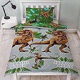 Texco Direct - Funda de edredón y funda de almohada, de Jurassic World y Jungla, para cama individual
