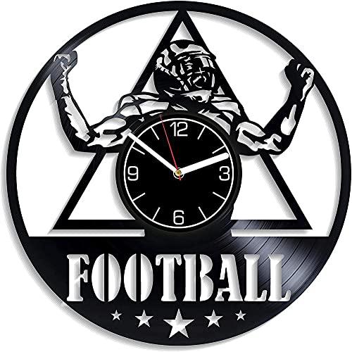 GVSPMOND Reloj de Pared con Disco de Vinilo Reloj de Pared de fútbol Americano Regalos de fútbol Moderno Deportes Decoración del hogar Deportes Fútbol Regalos para Hombres y Mujeres