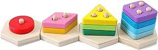 heavKin-Toy Kids Baby Wood Stack Blocks Geometric Set Cognitive Educational Toys Jigsaw Puzzle Pair Geometric Building Blocks