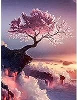 ダイヤモンド絵画キット、崖の上の桜の木、大人の絵画キットと絵画、クロスステッチ、家の壁の装飾、12x16インチ