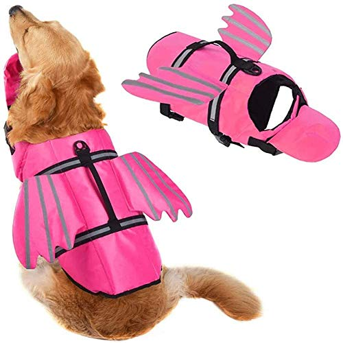 Dog Life Jacket, Unique Wings Design Pet Flotation Life Vest Dog Lifesaver Preserver Swimsuit with Handle for Swim, Pool, Beach, Boating for Large Dogs,Pink,M