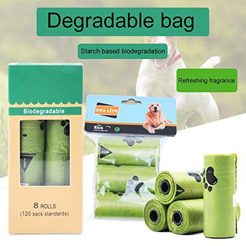 Steellwingsf Umweltfreundlicher Einweg-Müllsack, 1/3/8 Rolle Biologisch Abbaubare Pfoten Print Pet Dog Bags Cats Waste Garbage Pouch 8 Rolle