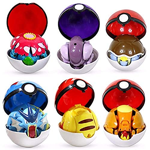 Qwead 6 Stück Pokemon Figuren Spielzeug Ball Variante Spielzeug Modell Pikachu Jenny Turtle Pocket Monsters Pokemones Actionfigur Spielzeug Geschenk Für Kinder