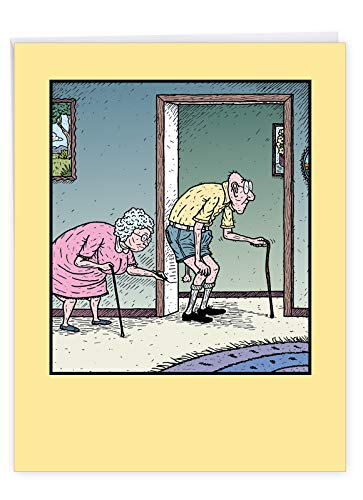 Happy Birthday Card 'Large Balls Chart' Hilarious Card with Envelope (XL 8.5 x 11 Inch) - Funny Senior Couple As Wife Measures Husband's Balls From The Wall - Happy Bday Greeting Card J9742